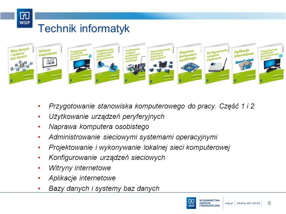 Technik informatyk Przygotowanie stanowiska komputerowego do pracy. Część 1 i 2. Użytkowanie urządzeń peryferyjnych.