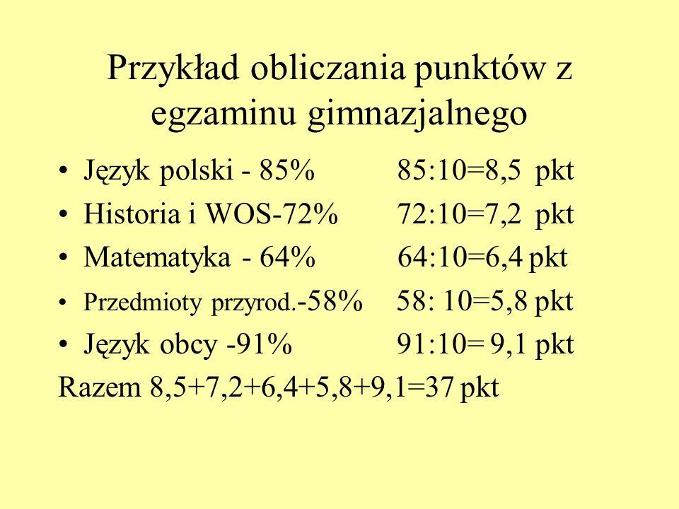 Przykład obliczania punktów z egzaminu gimnazjalnego