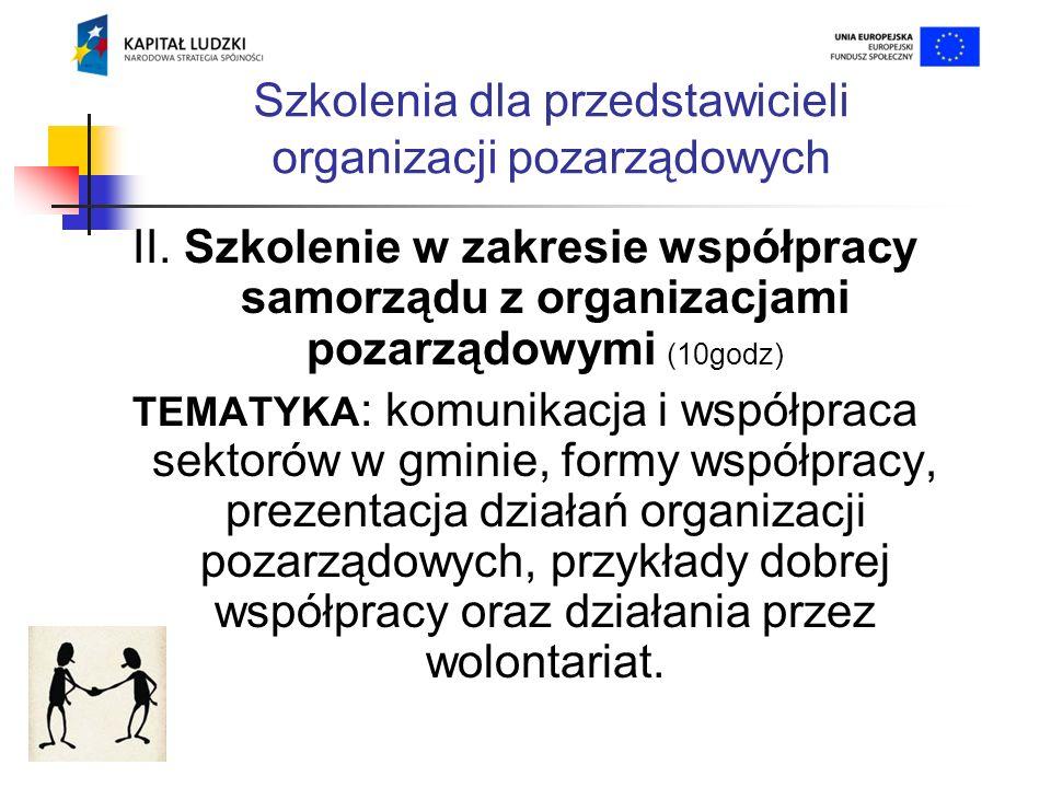 Szkolenia dla przedstawicieli organizacji pozarządowych