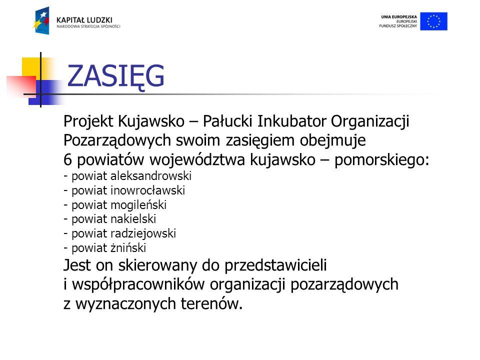 ZASIĘG Projekt Kujawsko – Pałucki Inkubator Organizacji Pozarządowych swoim zasięgiem obejmuje 6 powiatów województwa kujawsko – pomorskiego: