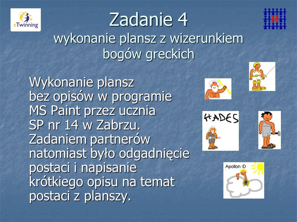 Zadanie 4 wykonanie plansz z wizerunkiem bogów greckich