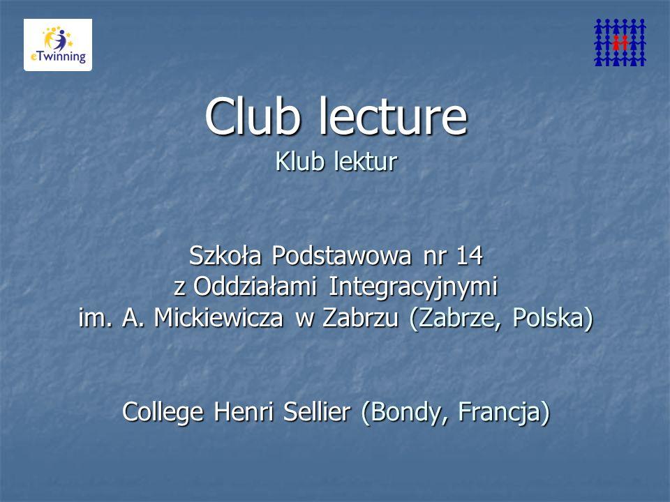 Club lecture Klub lektur Szkoła Podstawowa nr 14