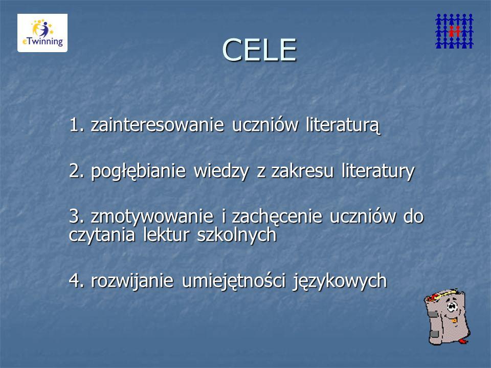 CELE 1. zainteresowanie uczniów literaturą