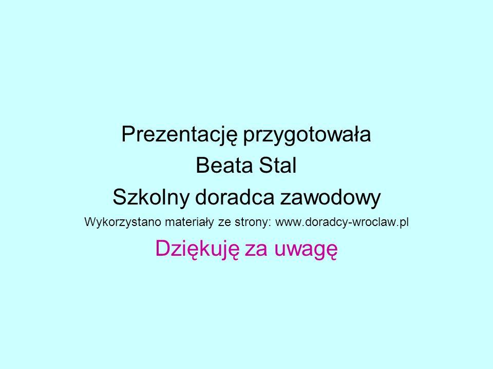 Prezentację przygotowała Beata Stal Szkolny doradca zawodowy