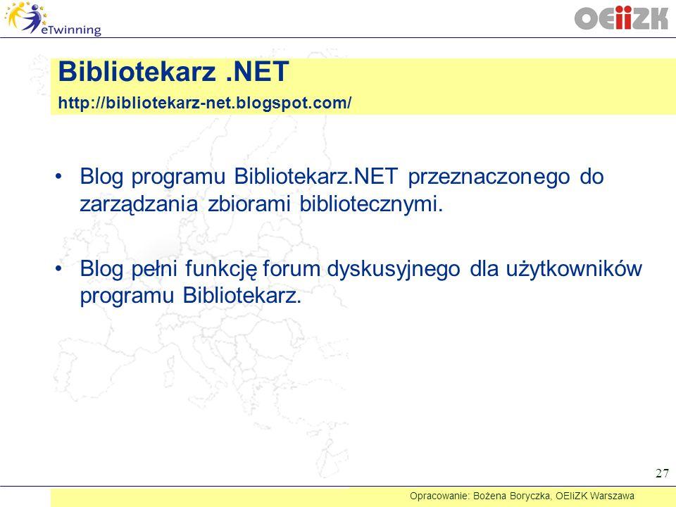 Bibliotekarz .NET http://bibliotekarz-net.blogspot.com/