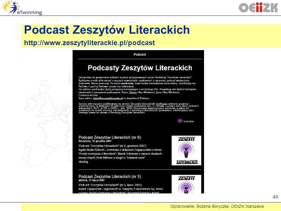 Podcast Zeszytów Literackich http://www.zeszytyliterackie.pl/podcast