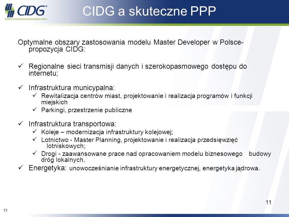 CIDG a skuteczne PPP Optymalne obszary zastosowania modelu Master Developer w Polsce- propozycja CIDG: