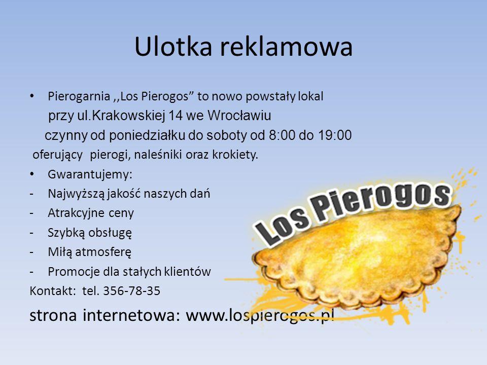 Ulotka reklamowa strona internetowa: www.lospierogos.pl