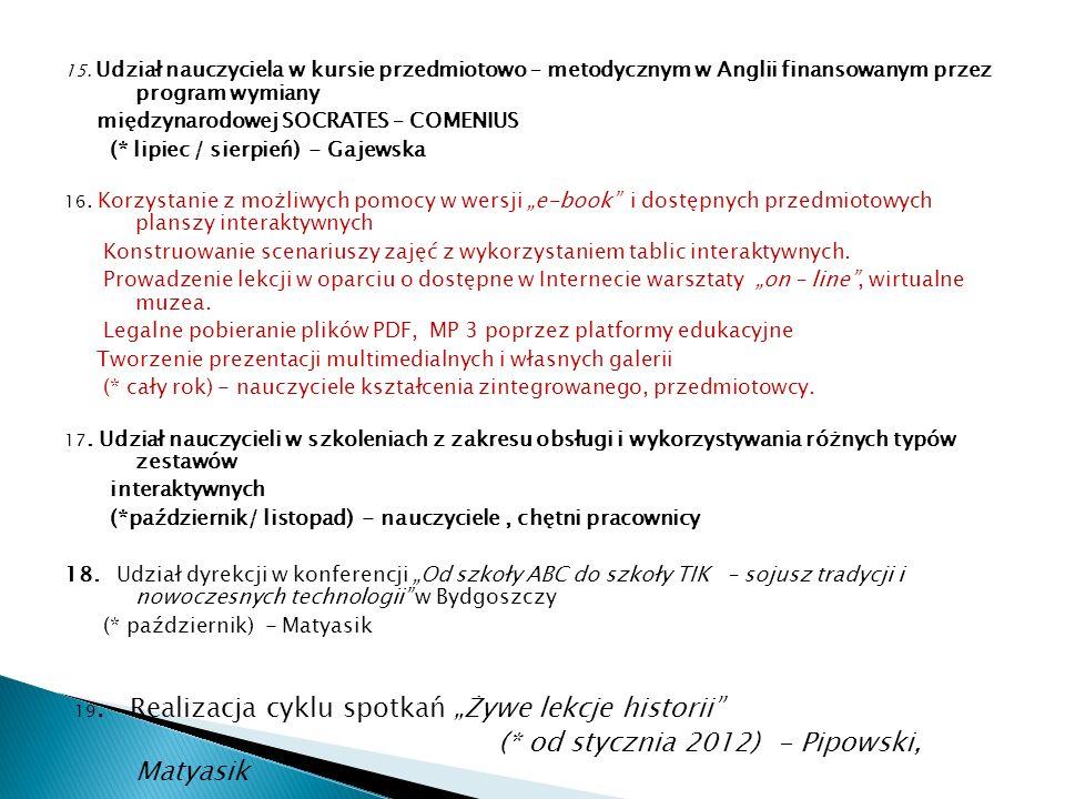 (* od stycznia 2012) - Pipowski, Matyasik