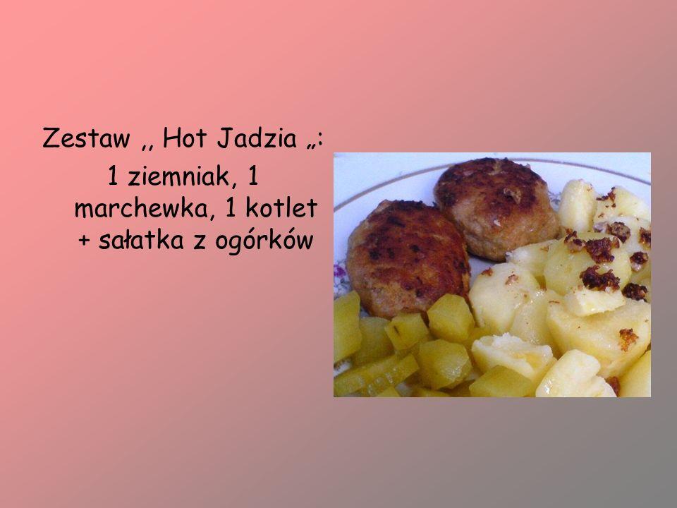 1 ziemniak, 1 marchewka, 1 kotlet + sałatka z ogórków
