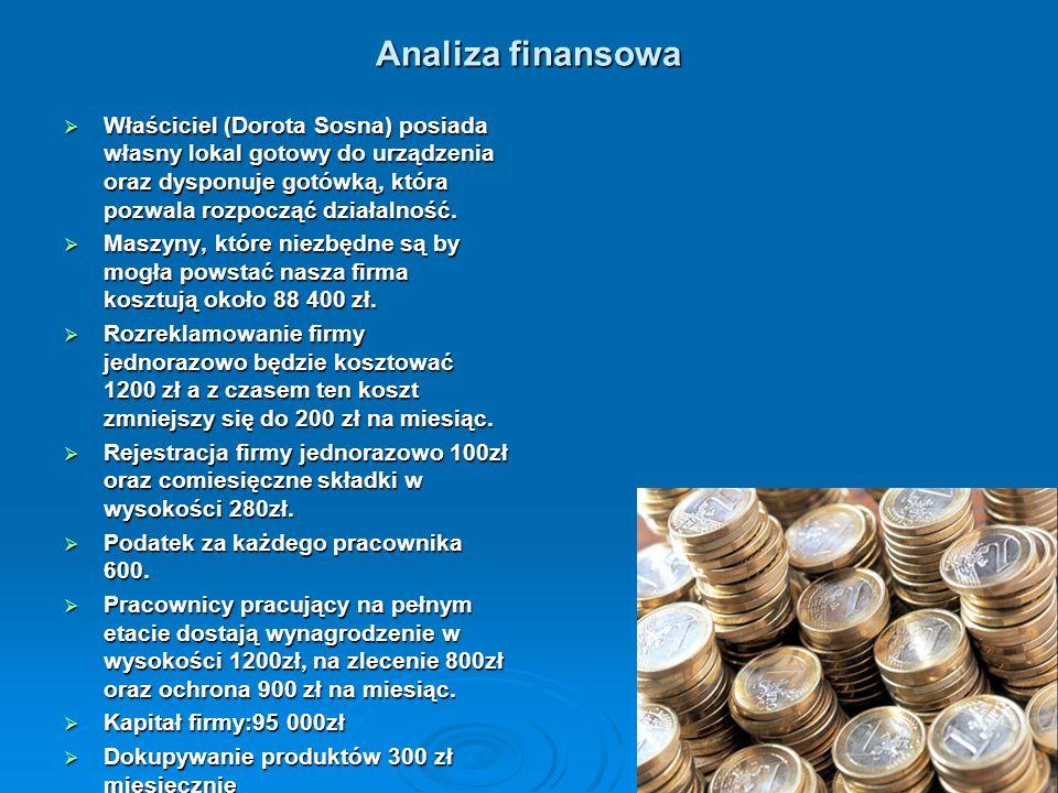 Analiza finansowa Właściciel (Dorota Sosna) posiada własny lokal gotowy do urządzenia oraz dysponuje gotówką, która pozwala rozpocząć działalność.