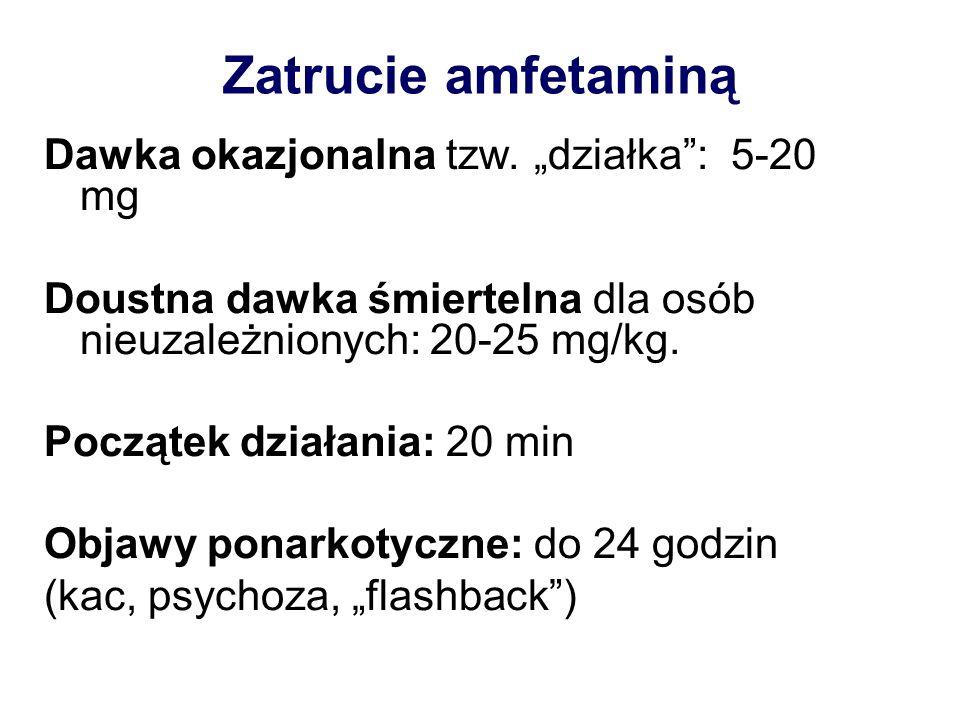 """Zatrucie amfetaminą Dawka okazjonalna tzw. """"działka : 5-20 mg"""