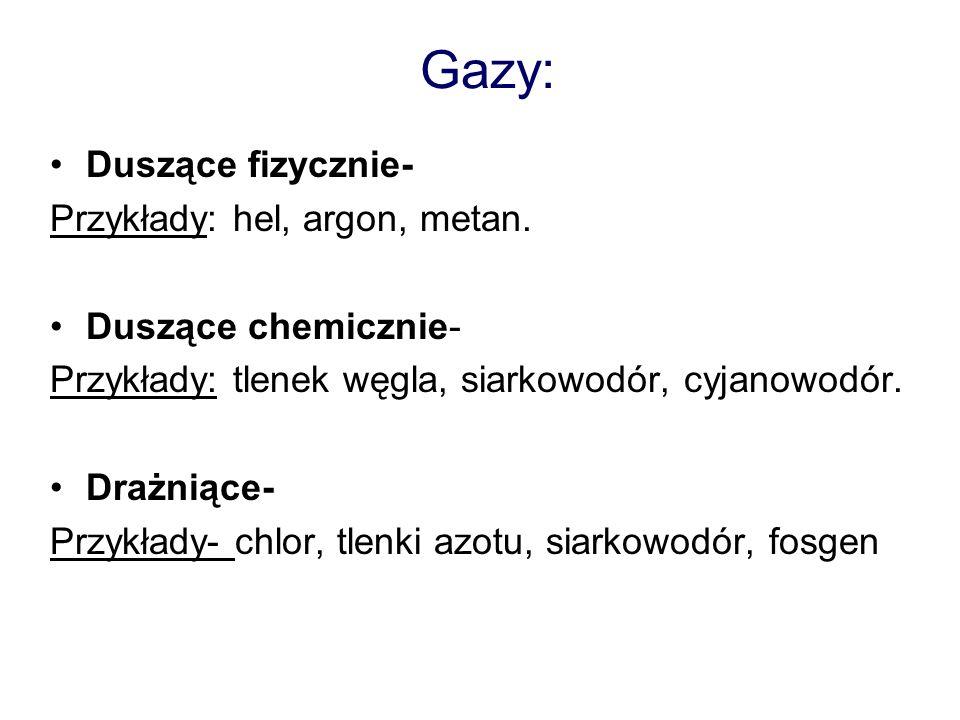 Gazy: Duszące fizycznie- Przykłady: hel, argon, metan.