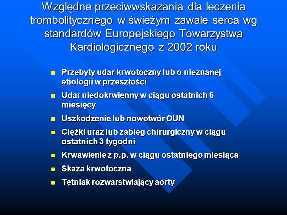 Względne przeciwwskazania dla leczenia trombolitycznego w świeżym zawale serca wg standardów Europejskiego Towarzystwa Kardiologicznego z 2002 roku
