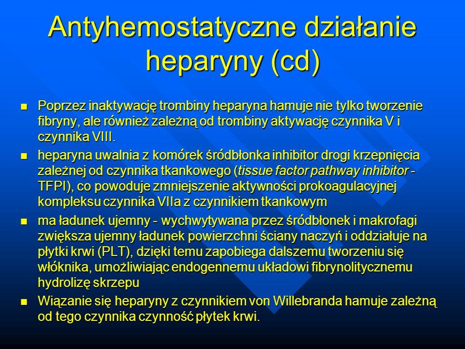 Antyhemostatyczne działanie heparyny (cd)