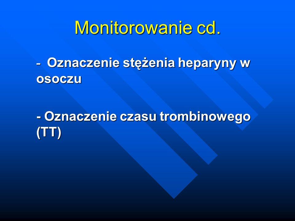 Monitorowanie cd. - Oznaczenie stężenia heparyny w osoczu