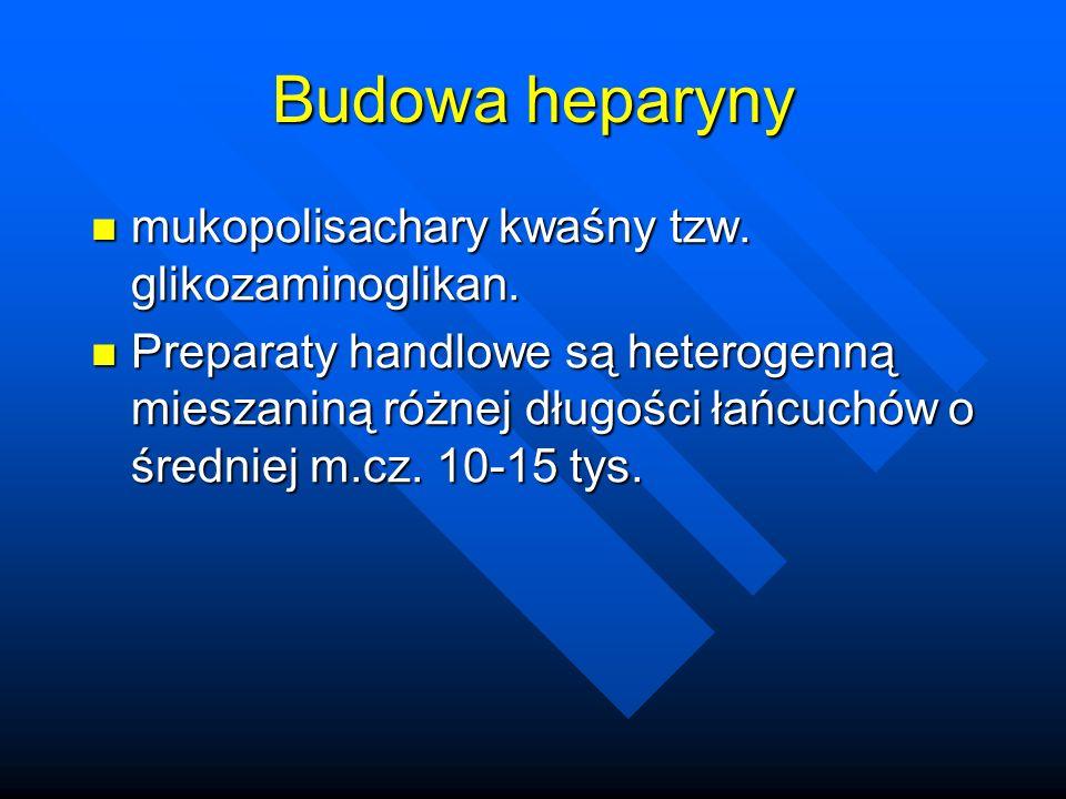 Budowa heparyny mukopolisachary kwaśny tzw. glikozaminoglikan.