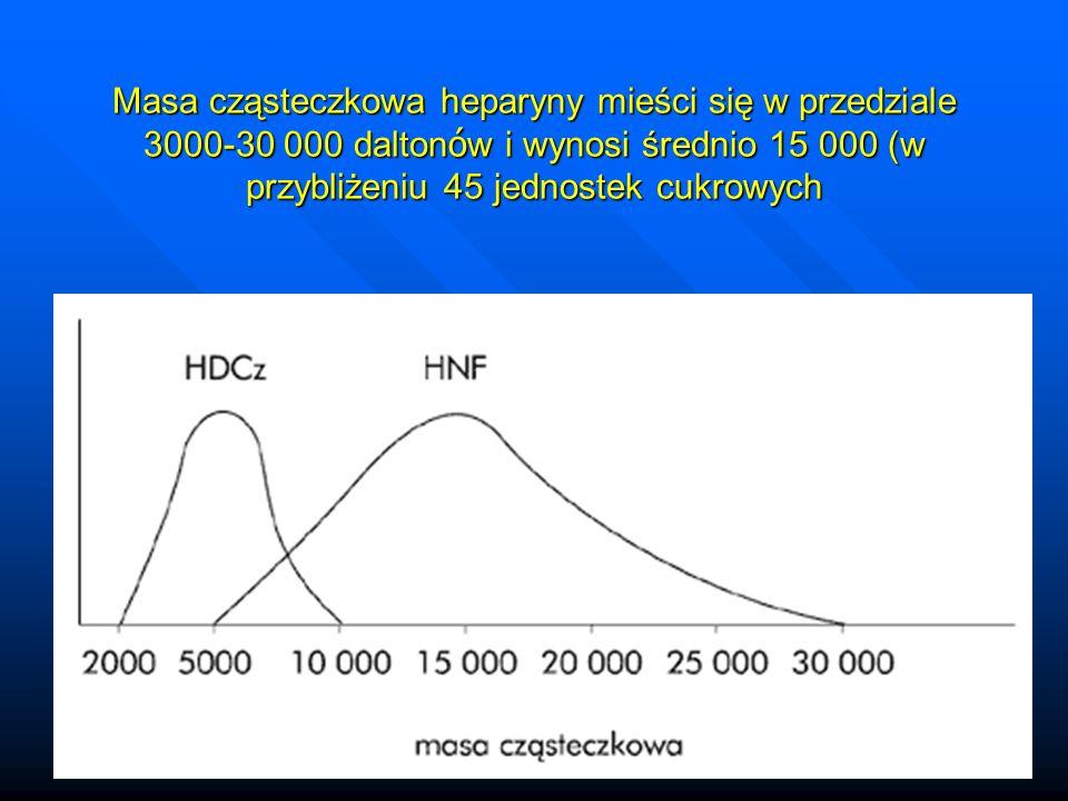 Masa cząsteczkowa heparyny mieści się w przedziale 3000-30 000 daltonów i wynosi średnio 15 000 (w przybliżeniu 45 jednostek cukrowych