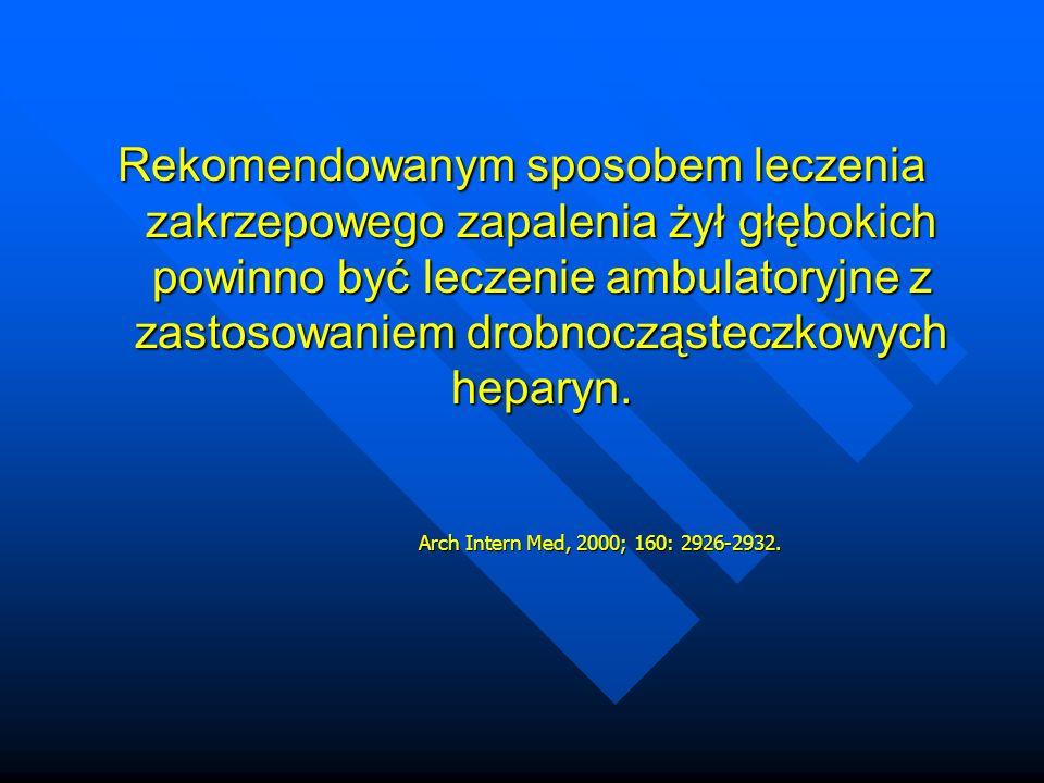 Rekomendowanym sposobem leczenia zakrzepowego zapalenia żył głębokich powinno być leczenie ambulatoryjne z zastosowaniem drobnocząsteczkowych heparyn.
