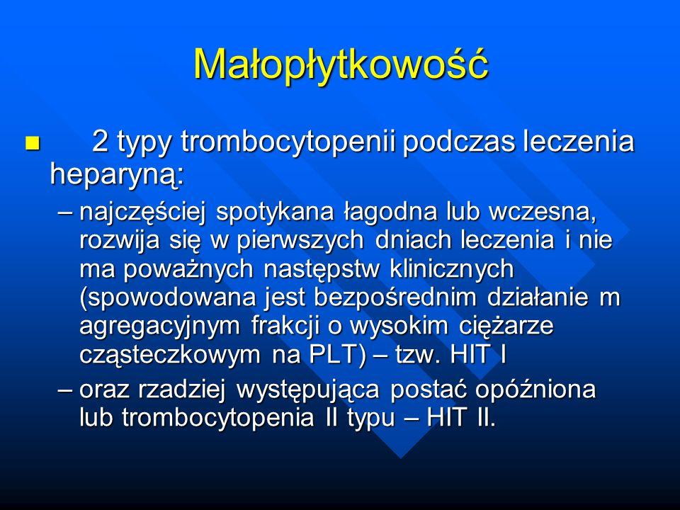 Małopłytkowość 2 typy trombocytopenii podczas leczenia heparyną: