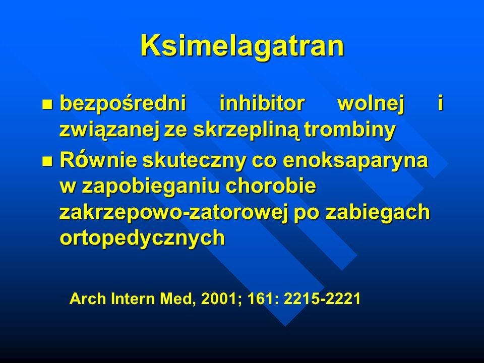 Ksimelagatran bezpośredni inhibitor wolnej i związanej ze skrzepliną trombiny.