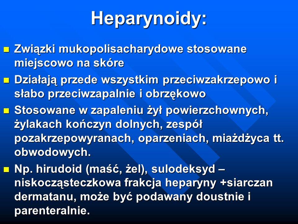 Heparynoidy: Związki mukopolisacharydowe stosowane miejscowo na skóre