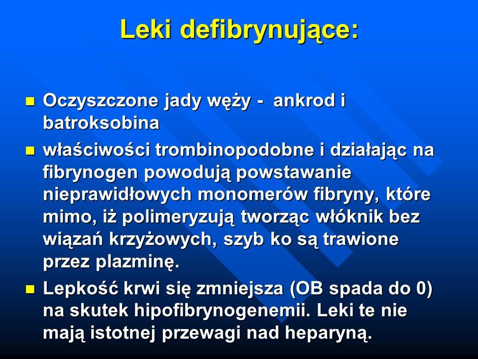 Leki defibrynujące: Oczyszczone jady węży - ankrod i batroksobina