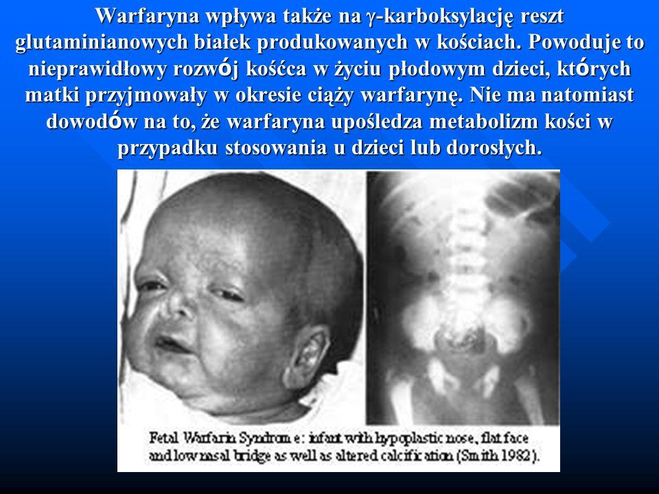 Warfaryna wpływa także na g-karboksylację reszt glutaminianowych białek produkowanych w kościach.
