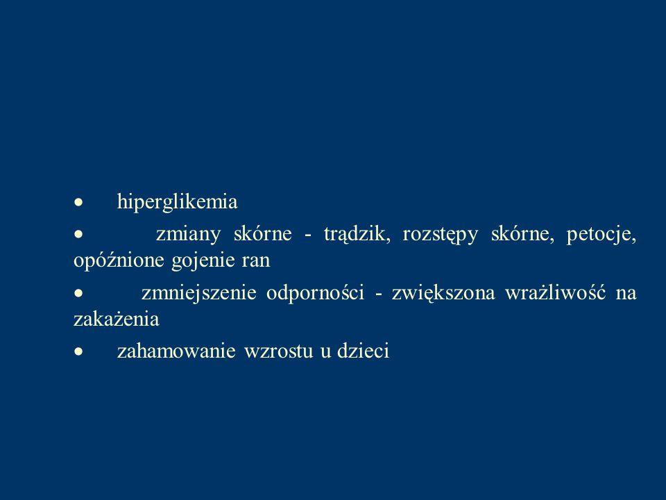 · hiperglikemia · zmiany skórne - trądzik, rozstępy skórne, petocje, opóźnione gojenie ran.