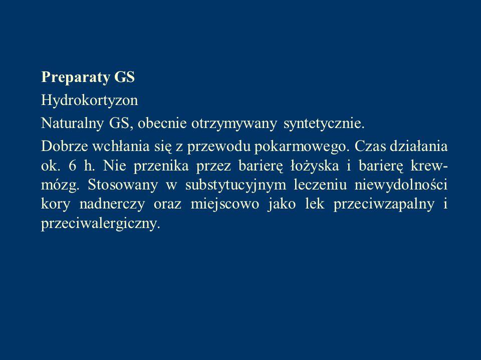 Preparaty GS Hydrokortyzon. Naturalny GS, obecnie otrzymywany syntetycznie.