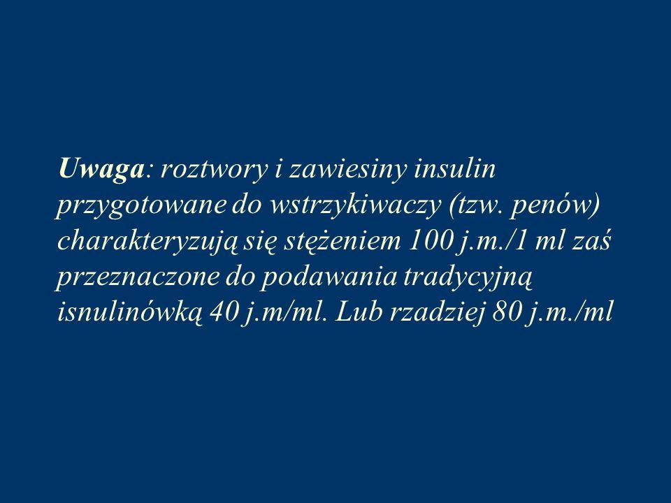 Uwaga: roztwory i zawiesiny insulin przygotowane do wstrzykiwaczy (tzw