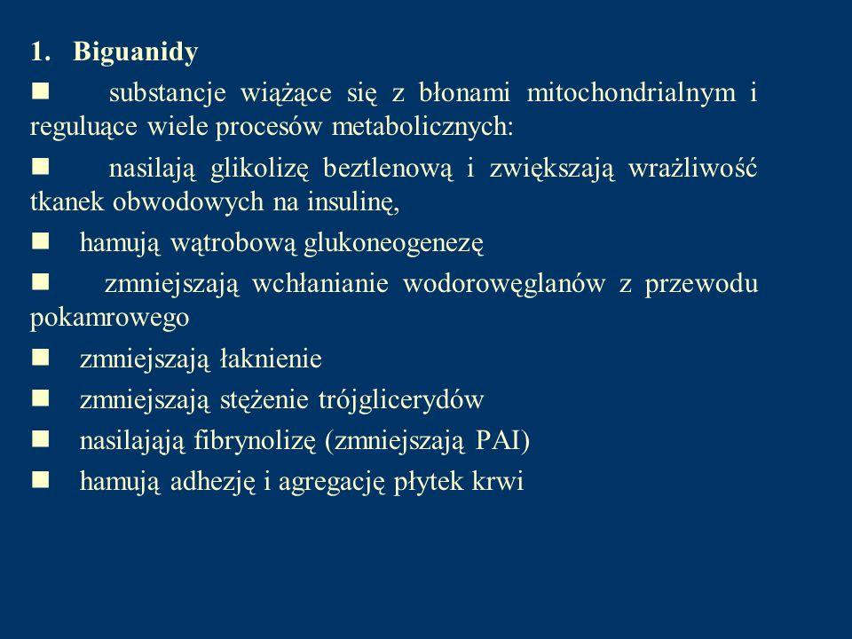 1. Biguanidy n substancje wiążące się z błonami mitochondrialnym i reguluące wiele procesów metabolicznych: