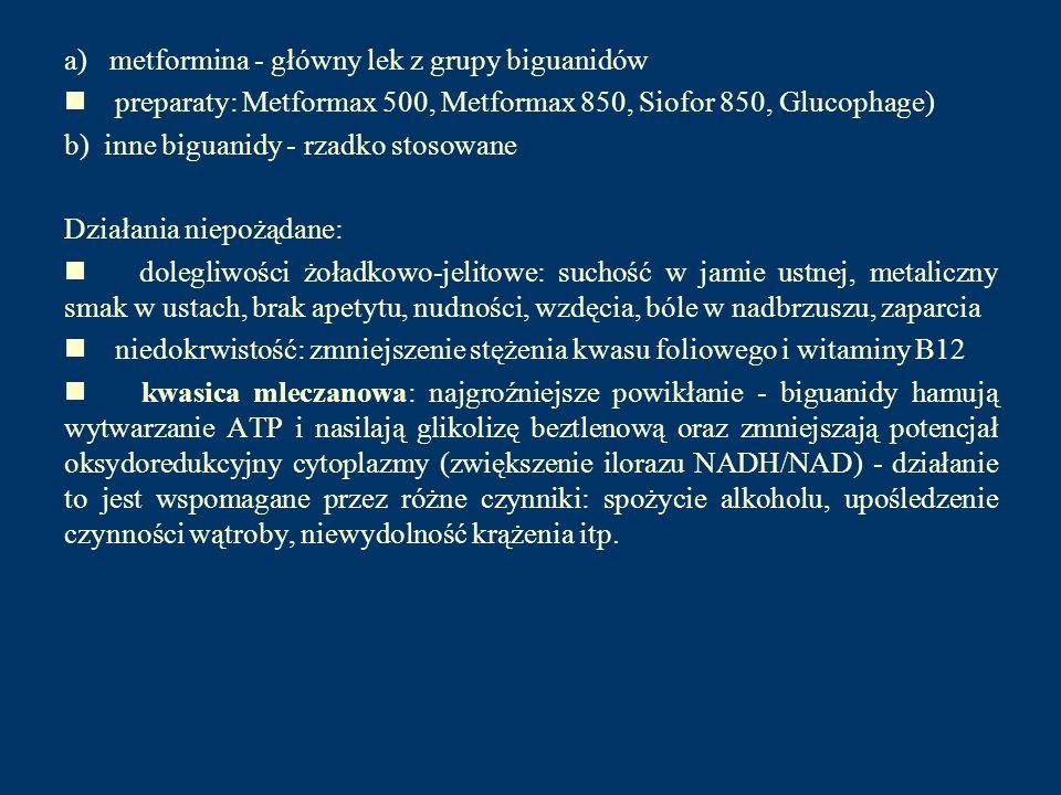 a) metformina - główny lek z grupy biguanidów