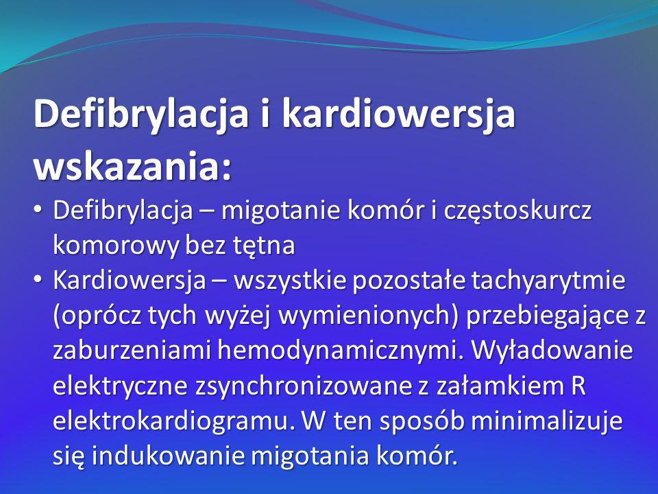 Defibrylacja i kardiowersja wskazania: