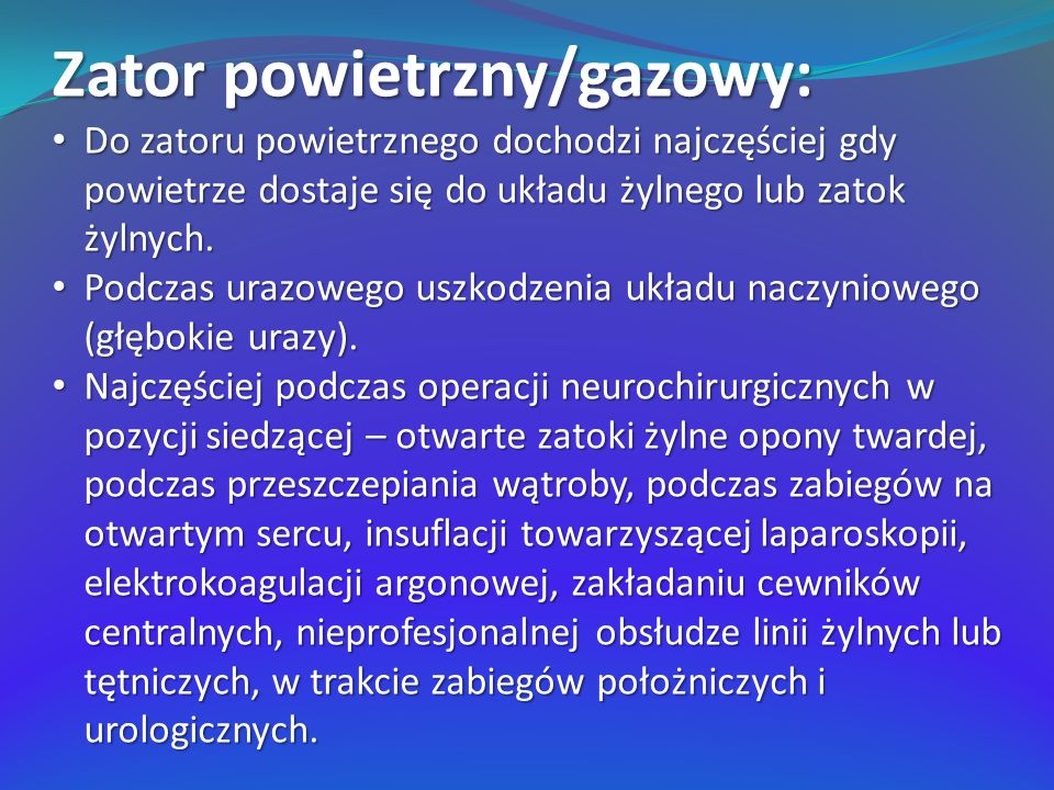 Zator powietrzny/gazowy: