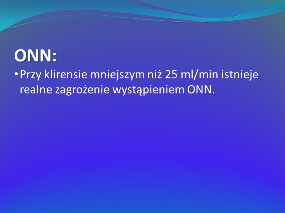 ONN: Przy klirensie mniejszym niż 25 ml/min istnieje realne zagrożenie wystąpieniem ONN.