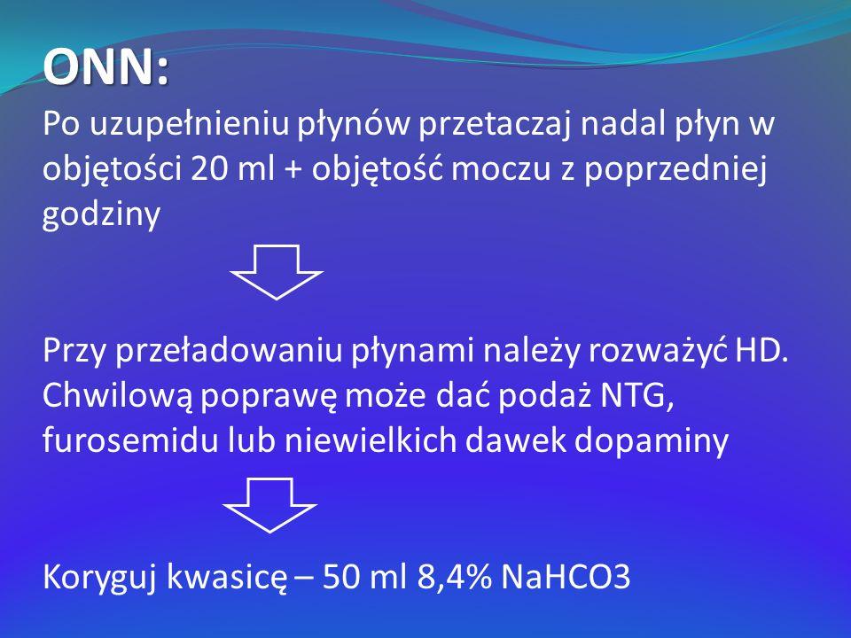 ONN: Po uzupełnieniu płynów przetaczaj nadal płyn w objętości 20 ml + objętość moczu z poprzedniej godziny.