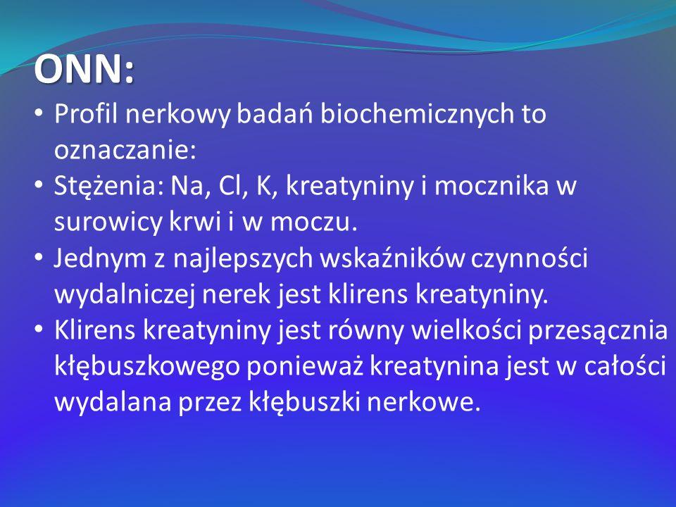 ONN: Profil nerkowy badań biochemicznych to oznaczanie: