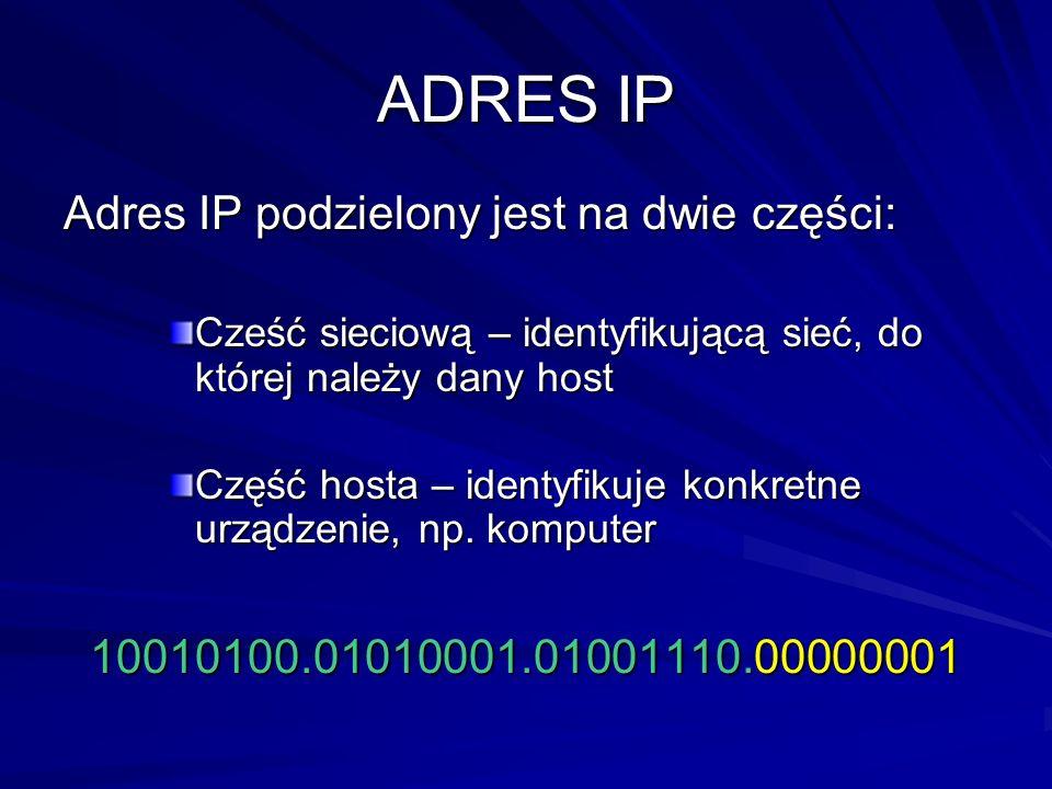 ADRES IP Adres IP podzielony jest na dwie części: