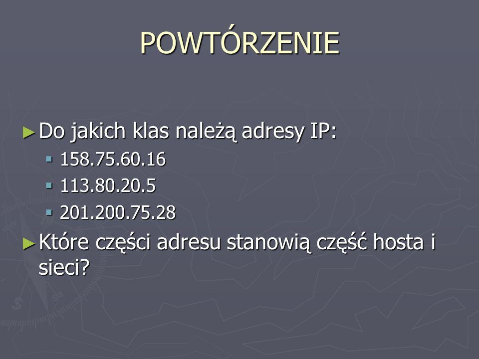 POWTÓRZENIE Do jakich klas należą adresy IP:
