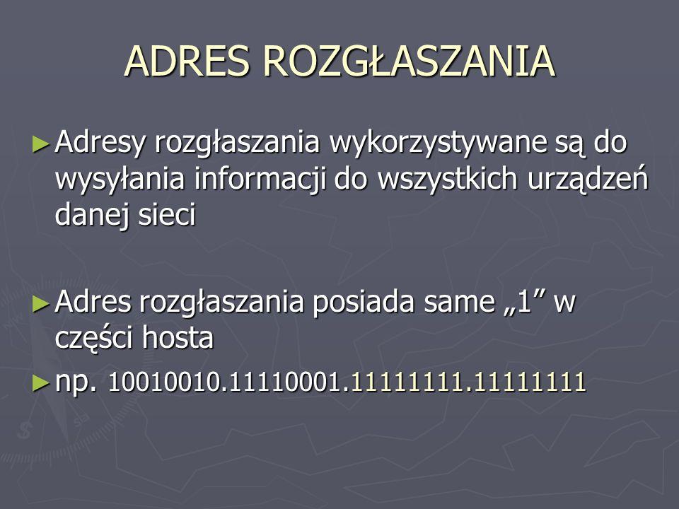 ADRES ROZGŁASZANIA Adresy rozgłaszania wykorzystywane są do wysyłania informacji do wszystkich urządzeń danej sieci.