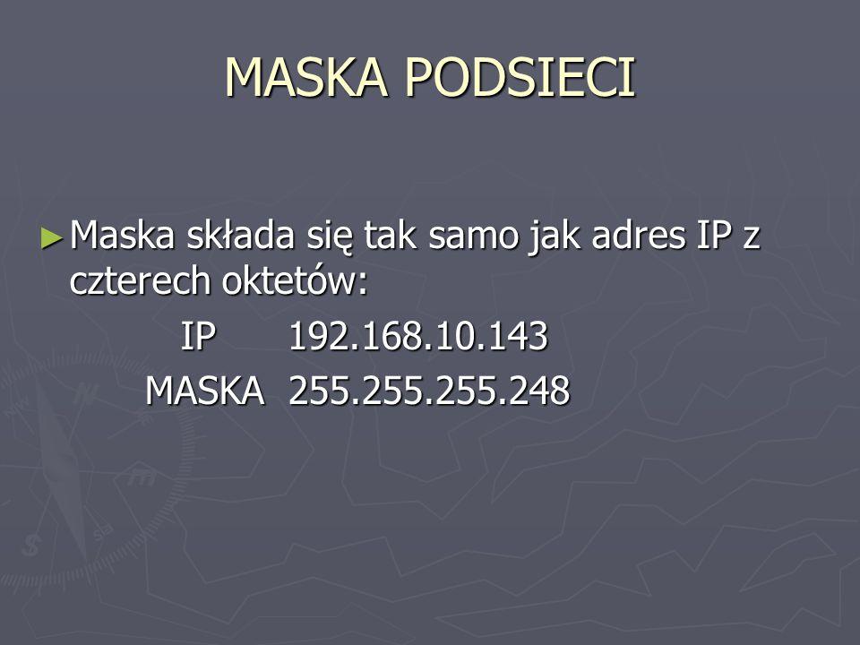 MASKA PODSIECI Maska składa się tak samo jak adres IP z czterech oktetów: IP 192.168.10.143.