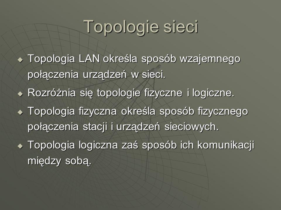 Topologie sieci Topologia LAN określa sposób wzajemnego połączenia urządzeń w sieci. Rozróżnia się topologie fizyczne i logiczne.