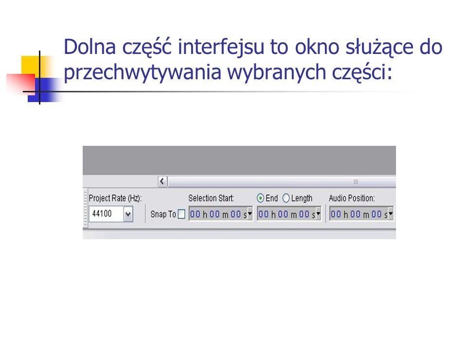 Dolna część interfejsu to okno służące do przechwytywania wybranych części: