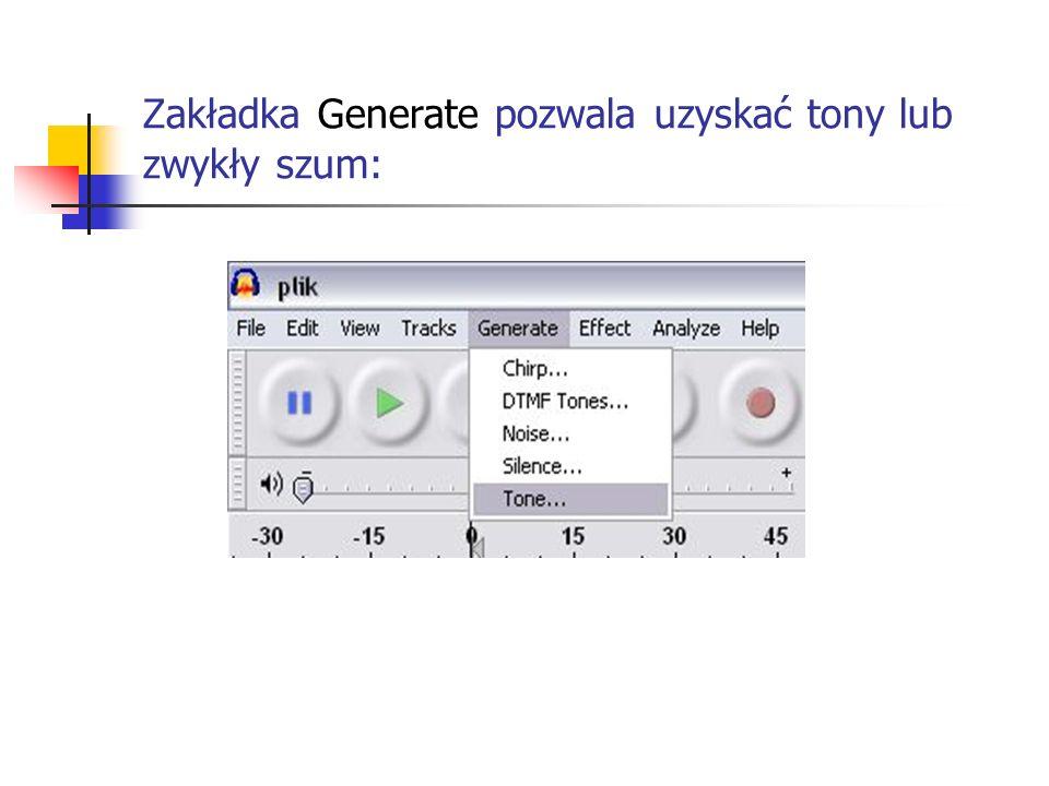 Zakładka Generate pozwala uzyskać tony lub zwykły szum: