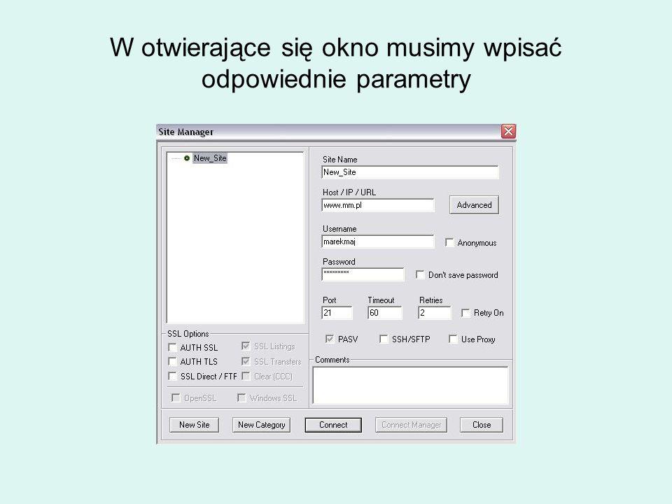 W otwierające się okno musimy wpisać odpowiednie parametry