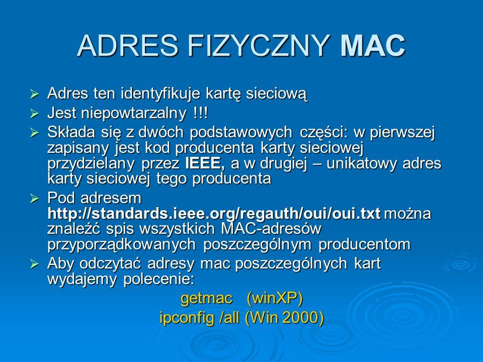 ADRES FIZYCZNY MAC Adres ten identyfikuje kartę sieciową