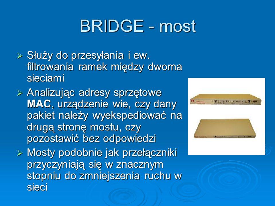 BRIDGE - most Służy do przesyłania i ew. filtrowania ramek między dwoma sieciami.
