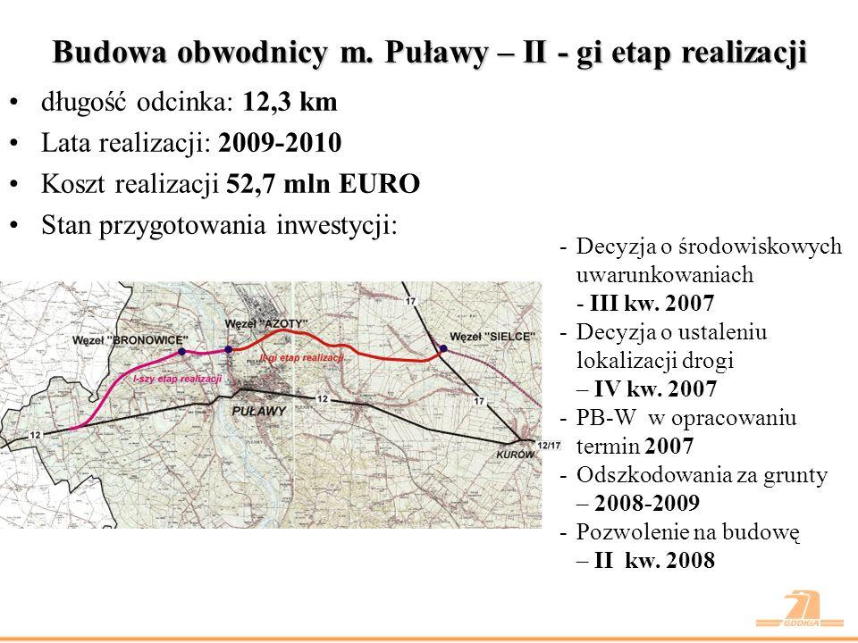 Budowa obwodnicy m. Puławy – II - gi etap realizacji