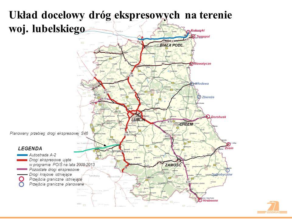 Układ docelowy dróg ekspresowych na terenie woj. lubelskiego